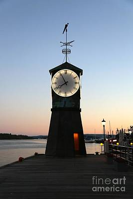 Aker Brygge Clock Tower At Sunset Print by Carol Groenen