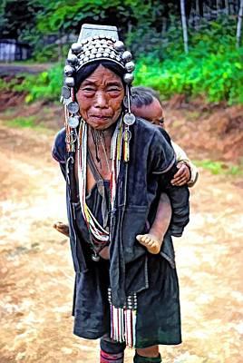 Hill Tribe Photograph - Akha Tribe Paint Filter by Steve Harrington