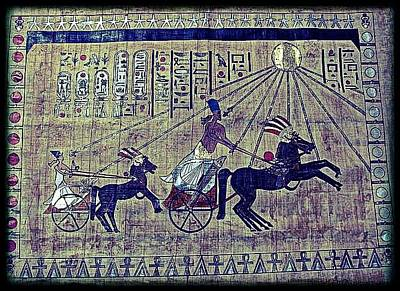 Papyrus Drawing - Akhanaten Go's To Temple by Mark William Chapman