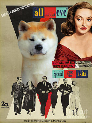 Painting - Akita Inu Art Canvas Print - All About Eve Movie Poster by Sandra Sij