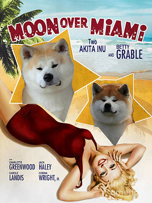 Painting - Akita Inu Art Canvas Print - Moon Over Miami Movie Poster by Sandra Sij