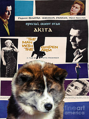 Painting - Akita Inu Art Canvas Print - The Man With The Golden Arm Movie Poster by Sandra Sij