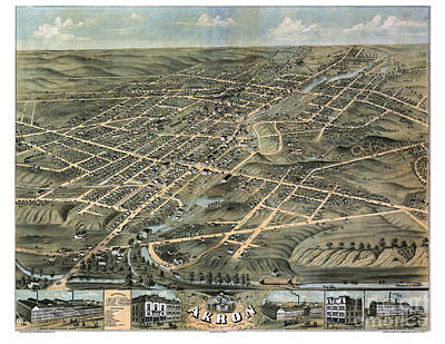 Old Map Painting - Akron - Ohio - 1870 by Pablo Romero