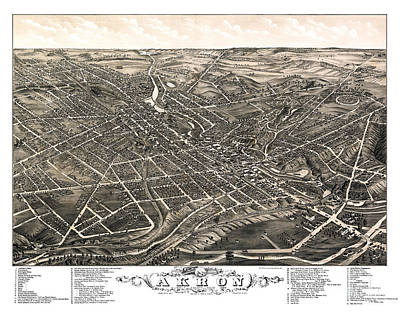 Old Map Painting - Akron - Ohio - 1882 by Pablo Romero