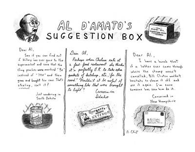 Peaches Drawing - Al D'amato's Suggestion Box by Roz Chast