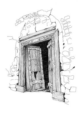 Drawing - Al Minsefah Doorway by Sue Pownall