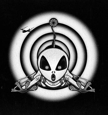 Cartoon Alien Digital Art - Al The Grey  Hyper-dimensional Skydiver by Filippo B