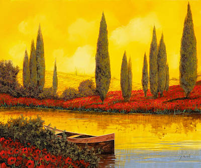 River Boat Painting - Al Tramonto by Guido Borelli