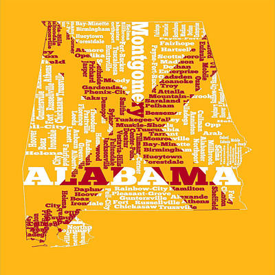 Mapping Mixed Media - Alabama 1c Word Cloud by Brian Reaves