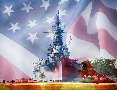 Digital Art - Battleship Alabama And Flag by Michael Thomas