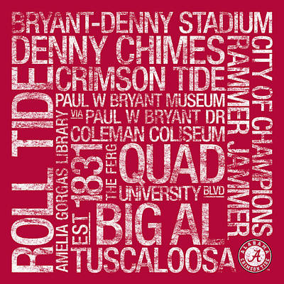 Replay Photograph - Alabama College Colors Subway Art by Replay Photos