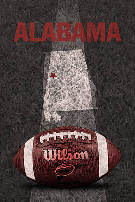 Ncaa Mixed Media - Alabama Football Map Poster by Design Turnpike