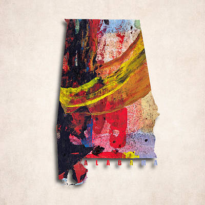 Abstract Map Digital Art - Alabama Map Art -painted Map Of Alabama by World Art Prints And Designs