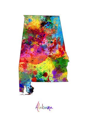Alabama Digital Art - Alabama Map by Michael Tompsett