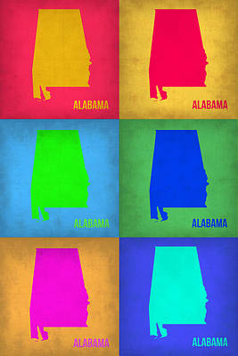 World Map Poster Painting - Alabama Pop Art Map 1 by Naxart Studio