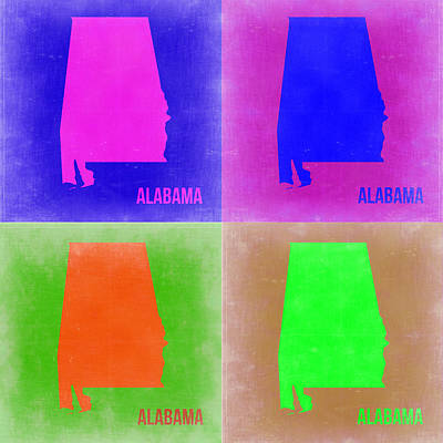 Modern Poster Painting - Alabama Pop Art Map 2 by Naxart Studio