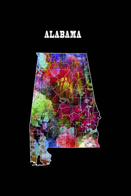 Alabama State Art Print by Daniel Hagerman