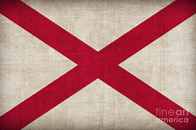 Landmarks Painting Royalty Free Images - Alabama State flag Royalty-Free Image by Pixel Chimp