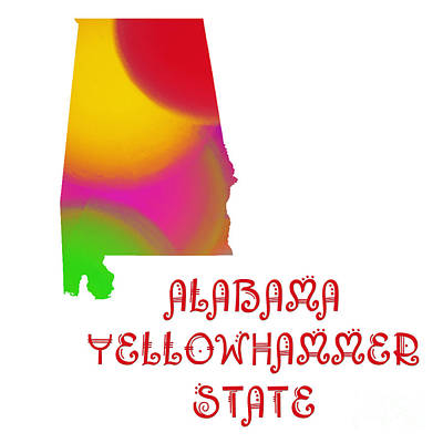 Digital Art - Alabama State Map Collection 2 by Andee Design
