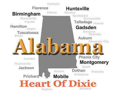 Alabama State Pride Map Silhouette  Art Print by Keith Webber Jr