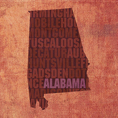 Wall Art - Mixed Media - Alabama Word Art State Map On Canvas by Design Turnpike
