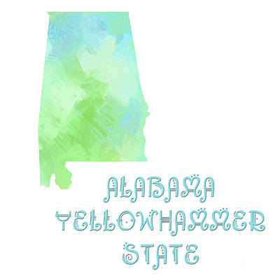 Digital Art - Alabama - Yellowhammer State - Map - State Phrase - Geology by Andee Design
