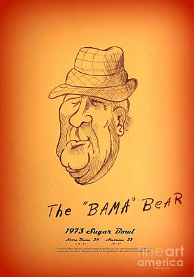 Drawing - Alabama's Bear Bryant by Greg Moores