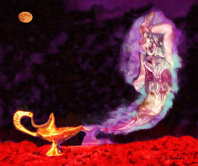 Full Moon Painting - Aladdin Lamp by George Rossidis