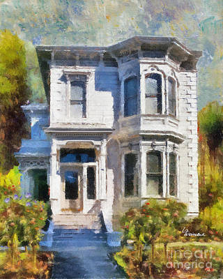 Art Print featuring the painting Alameda 1880 - Queen Anne  by Linda Weinstock