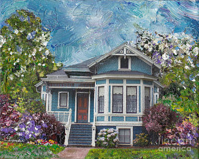 Painting - Alameda 1884 - Eastlake Cottage by Linda Weinstock