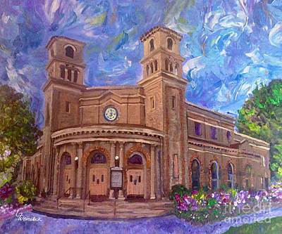 Bay Area Mixed Media - Alameda 1909  Twin Towers Church - Italian Renaissance  by Linda Weinstock