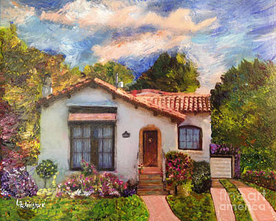 Mixed Media - Alameda 1932 Spanish House by Linda Weinstock