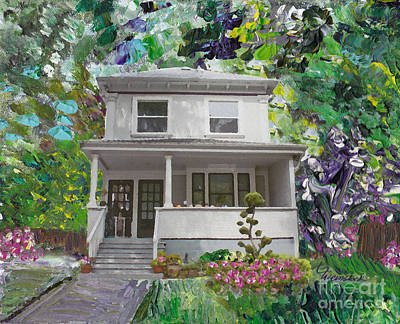 Art Print featuring the painting Alameda 1933 Duplex - American Foursquare  by Linda Weinstock