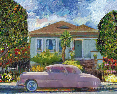 Painting - Alameda 1908 House 1950 Pink Dodge by Linda Weinstock