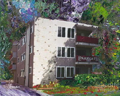 Art Print featuring the painting Alameda 1964 Apartment Architecture   by Linda Weinstock