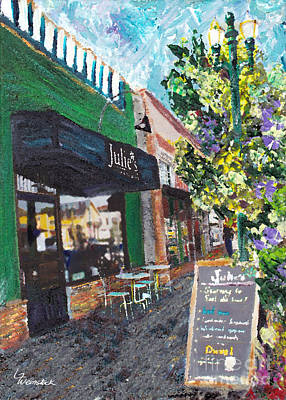Painting - Alameda Julie's Coffee N Tea Garden by Linda Weinstock