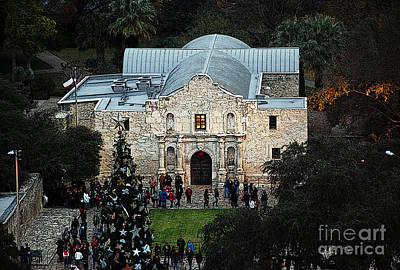 Digital Art - Alamo Entrance High Angle View At Christmas In San Antonio Texas Poster Edges Digital Art by Shawn O'Brien