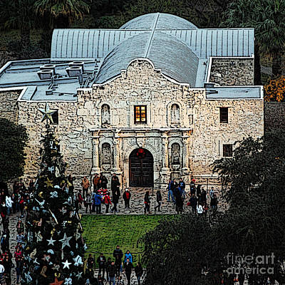 Digital Art - Alamo Entrance High Angle View At Christmas In San Antonio Texas Square Format Poster Edges Digital  by Shawn O'Brien