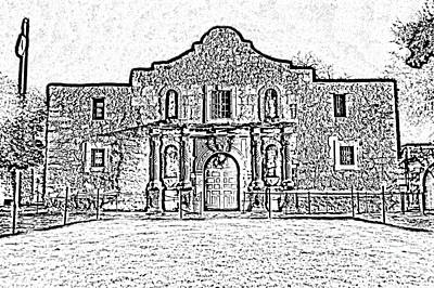 Digital Art - Alamo Mission Entrance Front Profile At Night In San Antonio Texas Black And White Digital Art by Shawn O'Brien