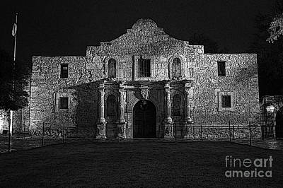 Digital Art - Alamo Mission Entrance Front Profile At Night In San Antonio Texas Bw Poster Edges Digital Art by Shawn O'Brien