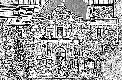 Digital Art - Alamo Mission Entrance High Angle View At Christmas In San Antonio Texas Black And White Digital Art by Shawn O'Brien