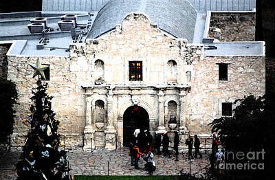Digital Art - Alamo Mission Entrance High Angle View At Christmas In San Antonio Texas Fresco Digital Art by Shawn O'Brien