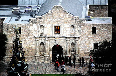 Digital Art - Alamo Mission Entrance High Angle View At Christmas In San Antonio Texas Ink Outlines Digital Art by Shawn O'Brien