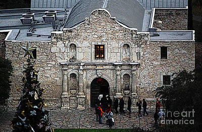 Digital Art - Alamo Mission Entrance High Angle View At Christmas In San Antonio Texas Poster Edges Digital Art by Shawn O'Brien
