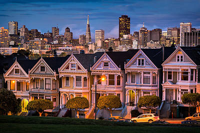 Light Paint Photograph - Alamo Square - Painted Ladies by Alexis Birkill