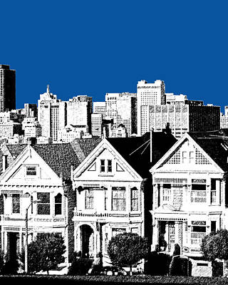 Alamo Square -  Royal Blue Art Print