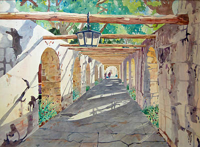 Painting - Alamo Walkway by Terry Holliday