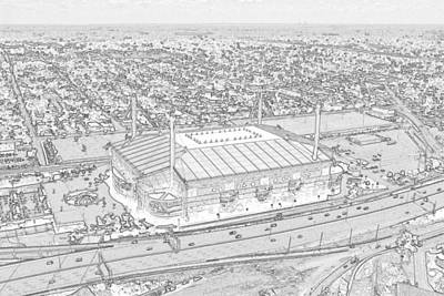 Photograph - Alamodome Sketch by C H Apperson