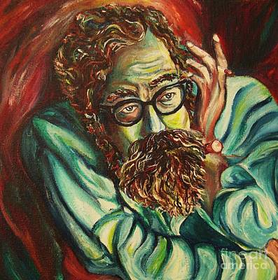 Angels Smoking Painting - Alan Ginsberg Poet Philosopher by Carole Spandau