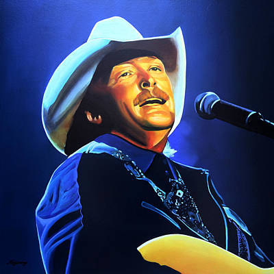 Celebrities Painting - Alan Jackson Painting by Paul Meijering